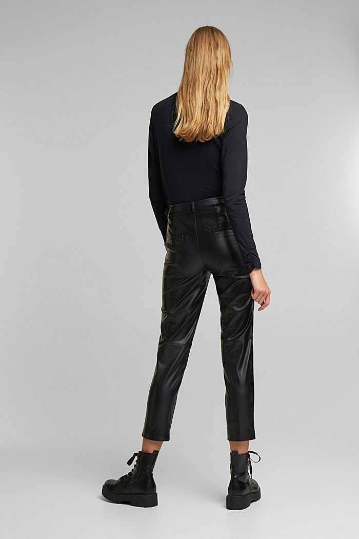Cropped faux leather trousers, BLACK, detail image number 3