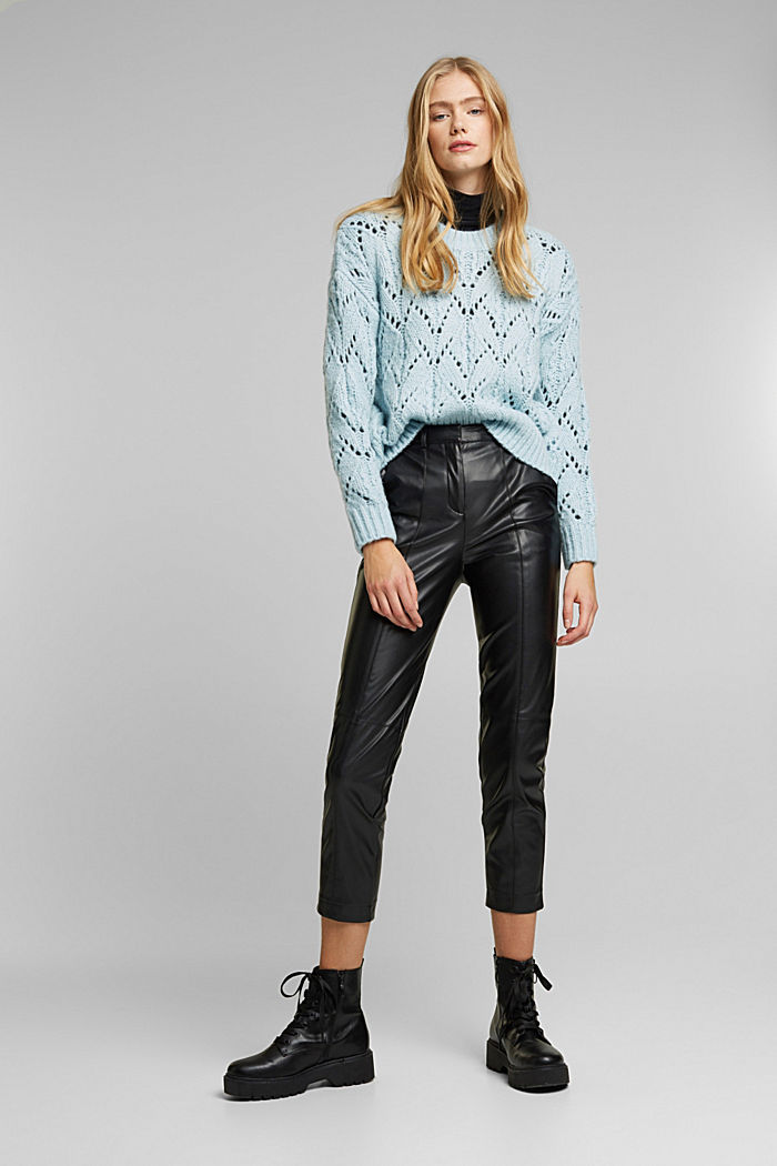 Cropped faux leather trousers, BLACK, detail image number 1