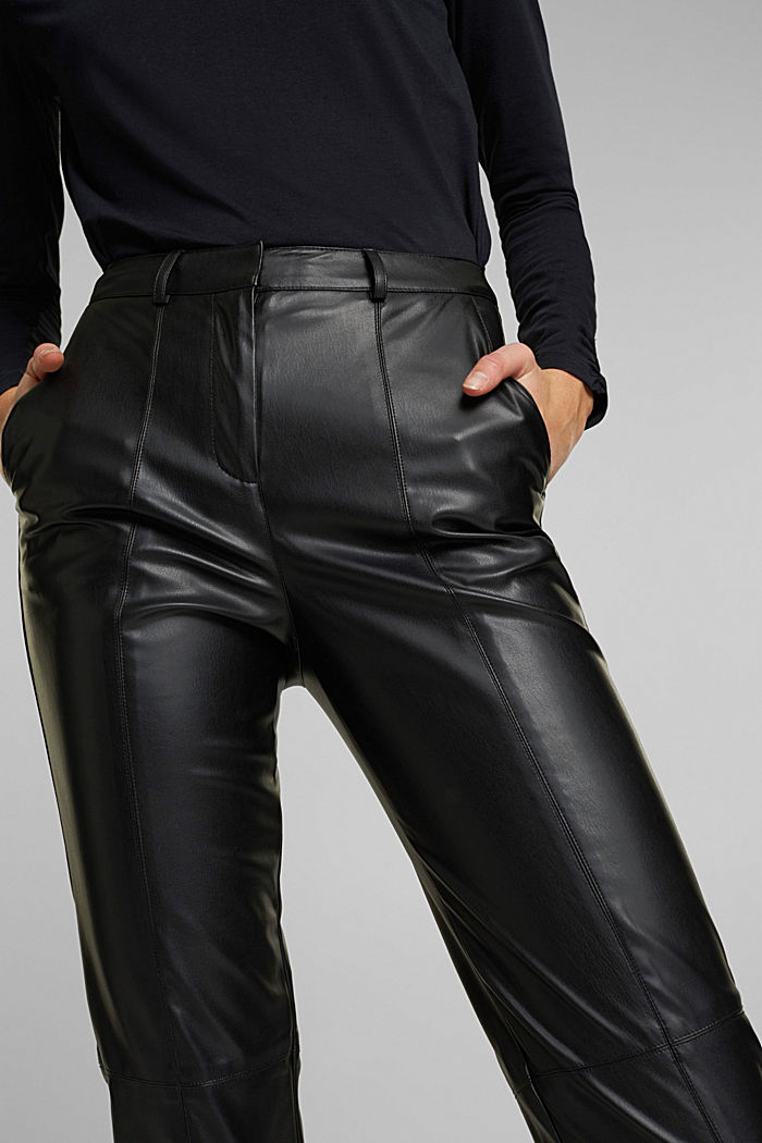 Cropped faux leather trousers, BLACK, detail image number 2
