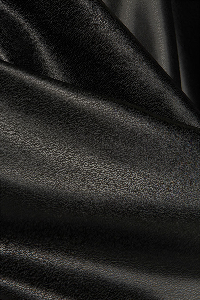 Cropped faux leather trousers, BLACK, detail image number 4