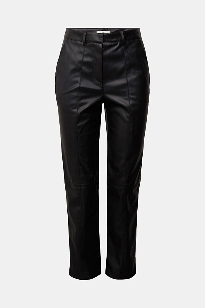 Cropped faux leather trousers