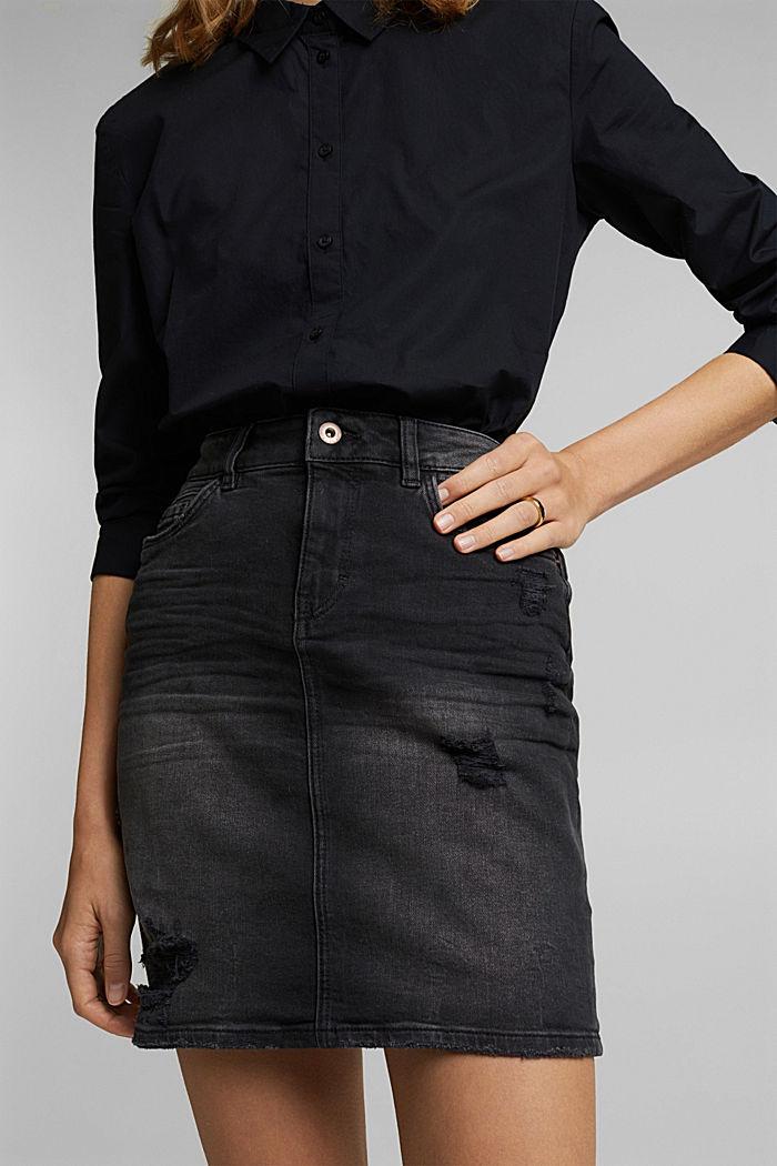 Denim rok met biologisch katoen, BLACK DARK WASHED, detail image number 2