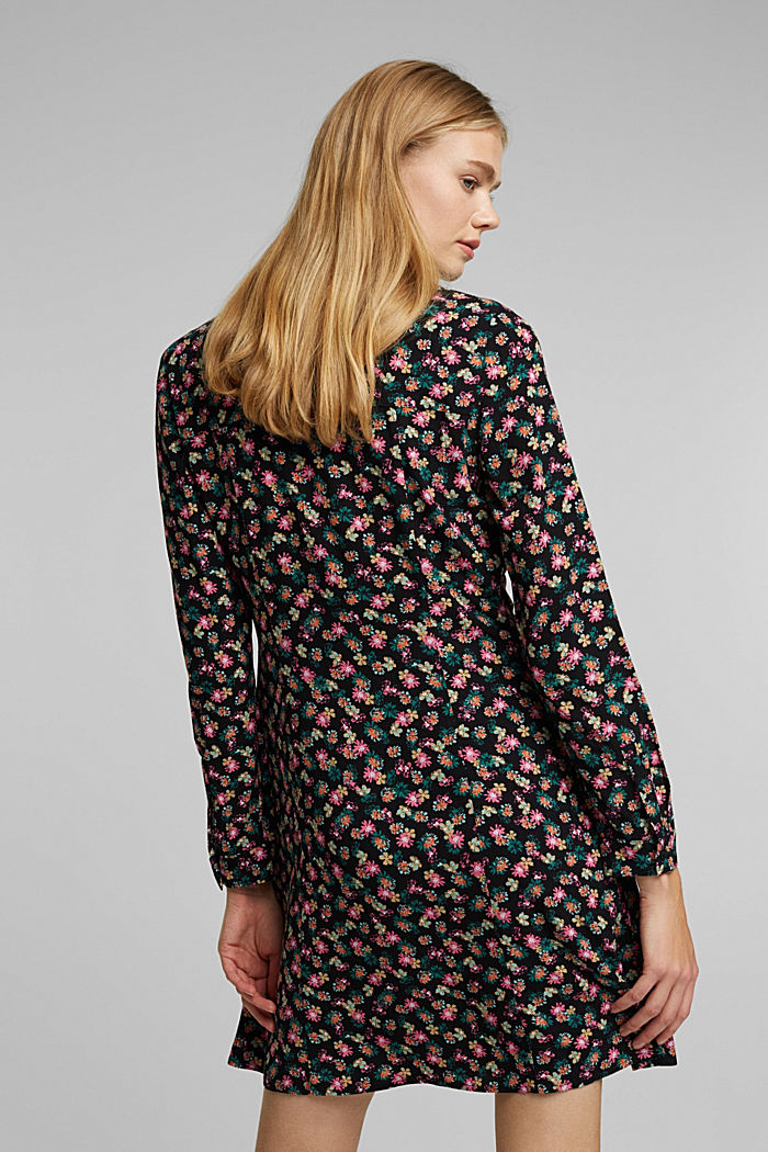 Shirt dress with a floral print, BLACK, detail image number 2