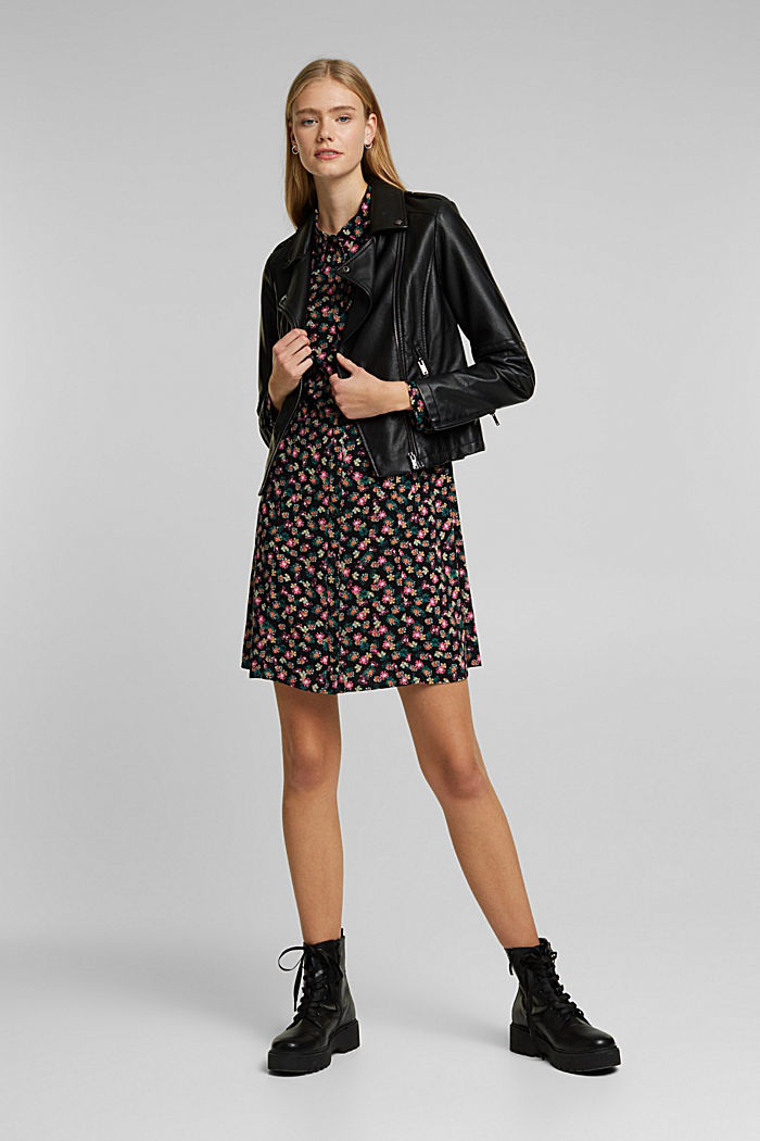 Shirt dress with a floral print, BLACK, detail image number 1