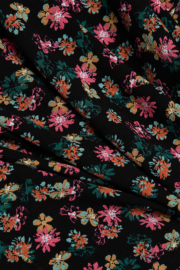 Shirt dress with a floral print, BLACK, detail image number 4