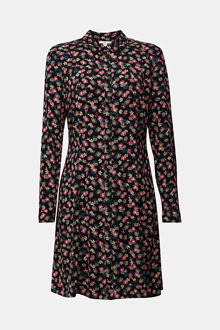 Shirt dress with a floral print, BLACK, detail image number 5