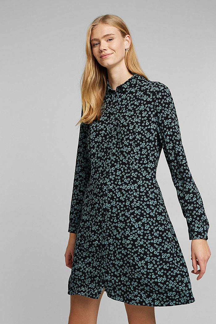 Shirt dress with a floral print, NEW BLACK, detail image number 0