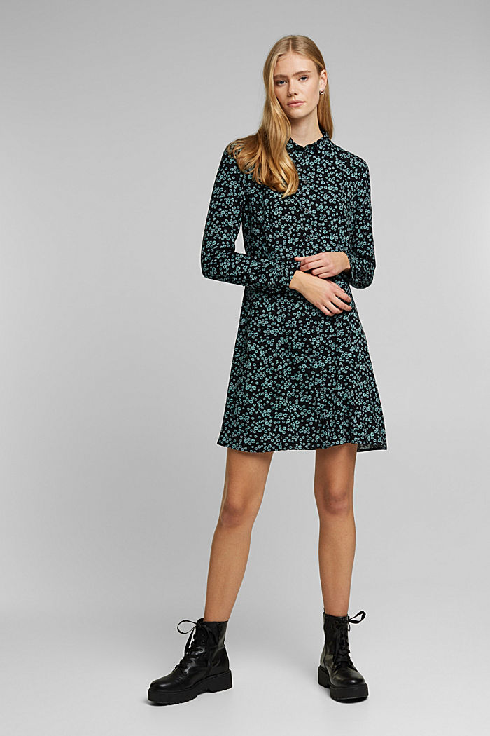 Shirt dress with a floral print, NEW BLACK, detail image number 1