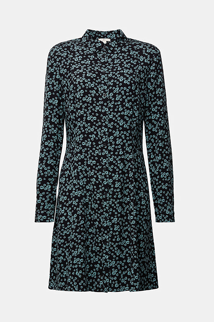 Shirt dress with a floral print, NEW BLACK, detail image number 5