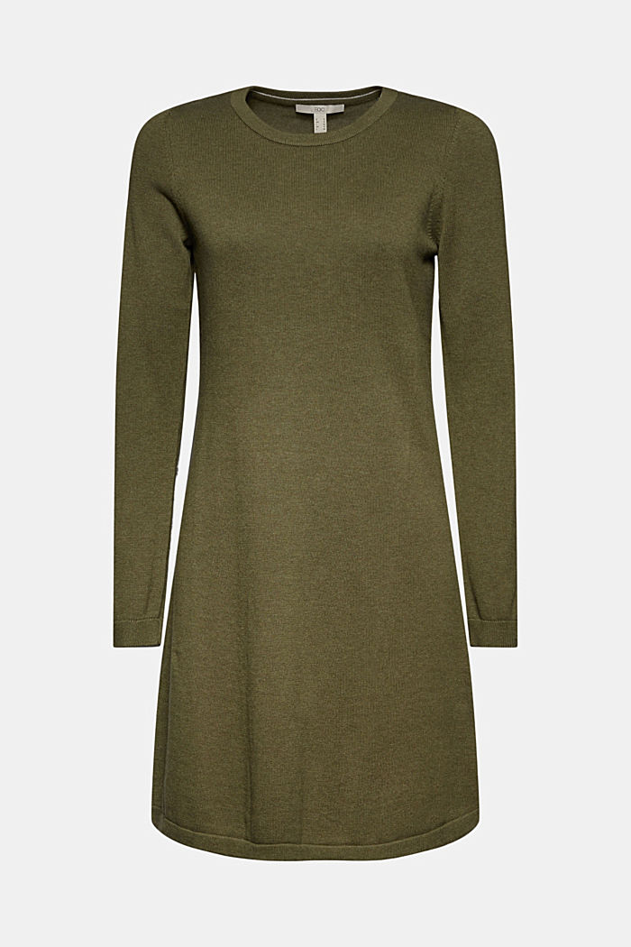 Knitted dress made of 100% organic cotton, KHAKI GREEN, detail image number 7