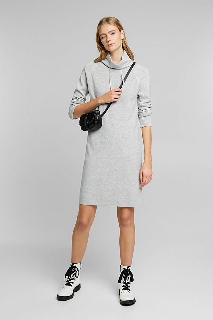 Knitted dress made of 100% organic cotton, LIGHT GREY, detail image number 1