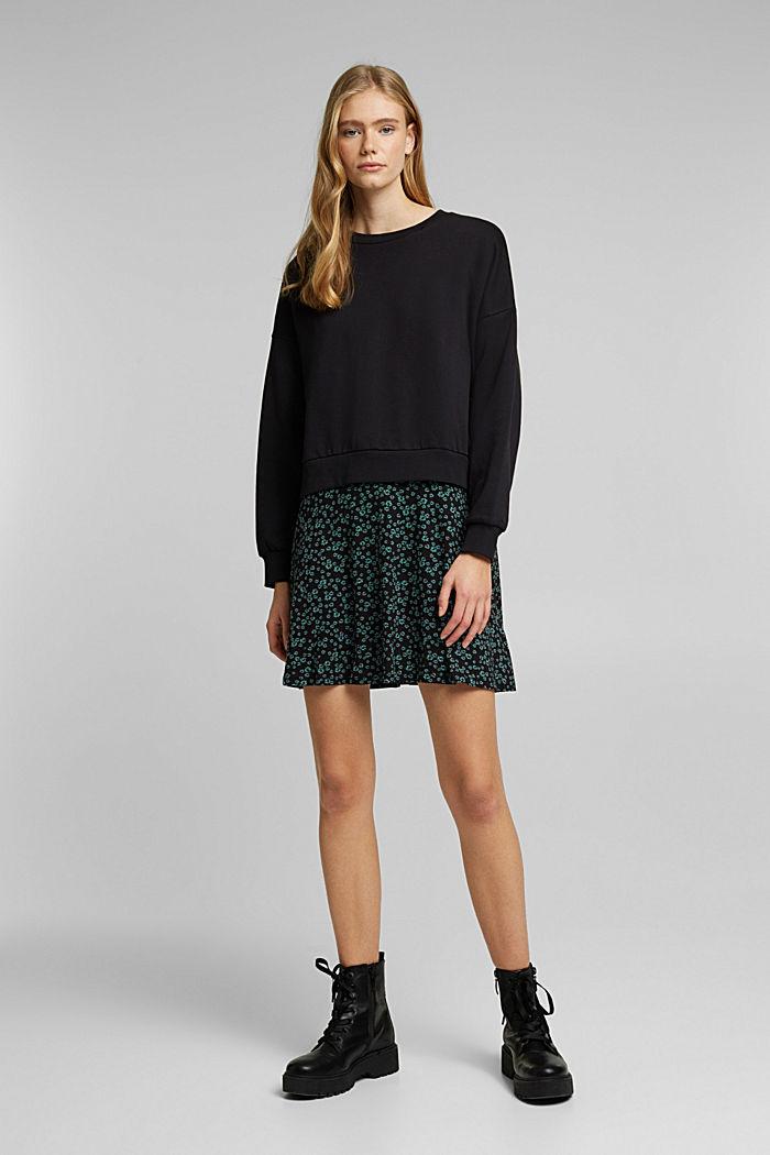 Sweatshirt dress with skirt made of LENZING™ ECOVERO™, BLACK, detail image number 1
