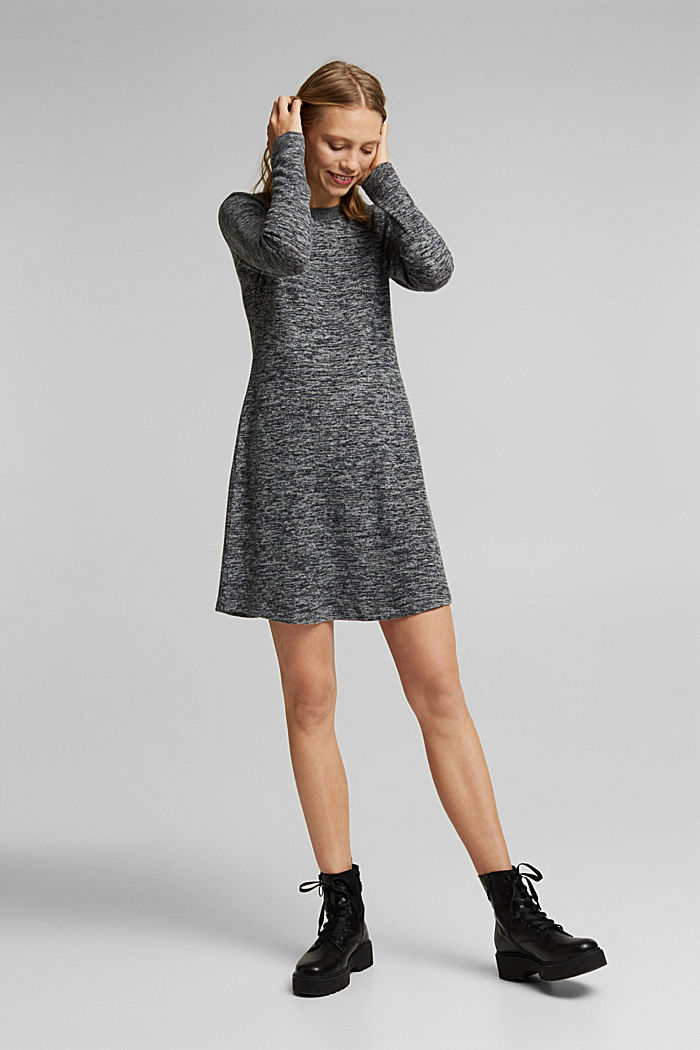 Recycled: melange jersey dress, GUNMETAL, detail image number 0