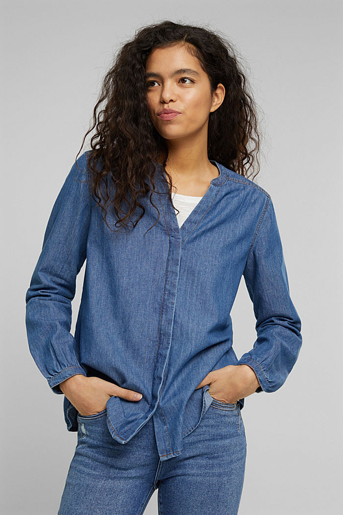 Organic cotton denim blouse