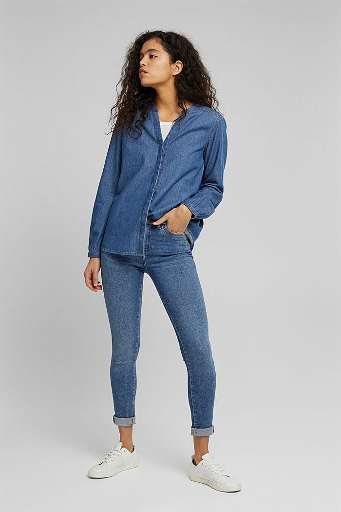Denim blouse van organic cotton, BLUE MEDIUM WASHED, detail image number 1
