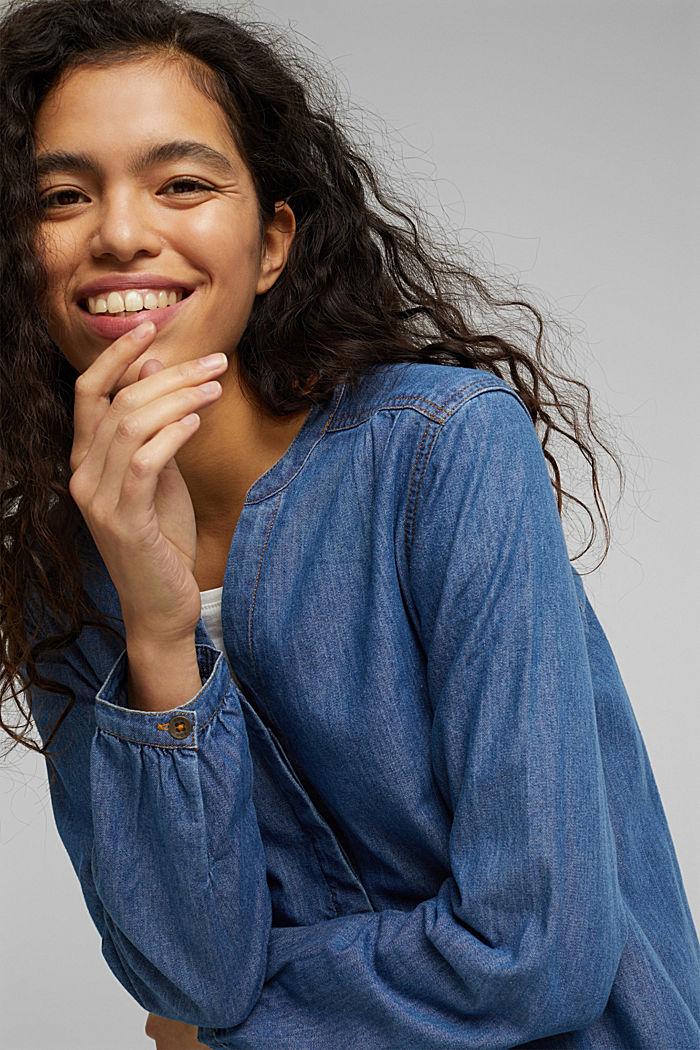 Denim blouse van organic cotton, BLUE MEDIUM WASHED, detail image number 7