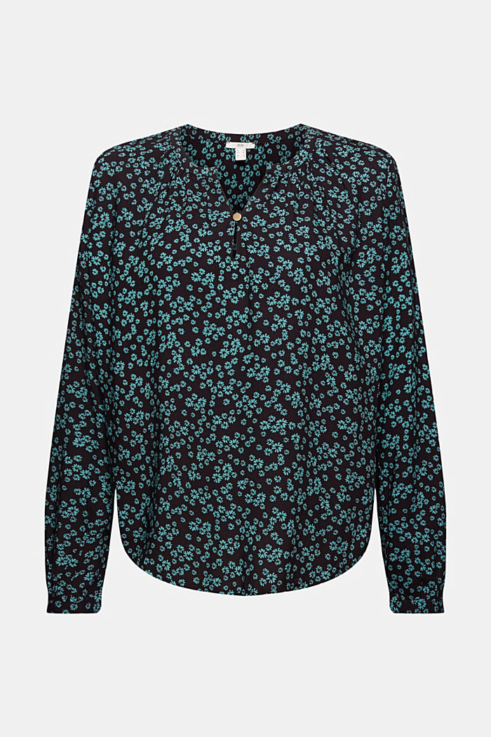 Print blouse with LENZING™ ECOVERO™, BLACK, detail image number 6