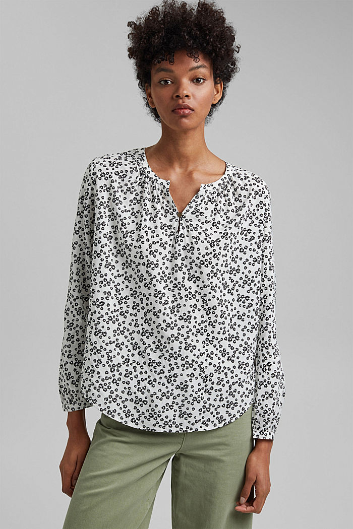Print blouse with LENZING™ ECOVERO™, OFF WHITE, detail image number 0