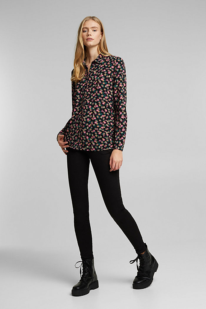 Shirt blouse with floral print, BLACK, detail image number 1