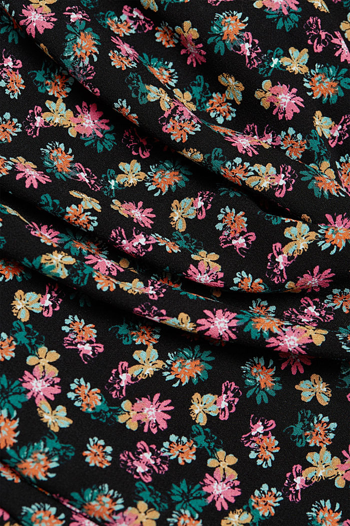 Shirt blouse with floral print, BLACK, detail image number 4