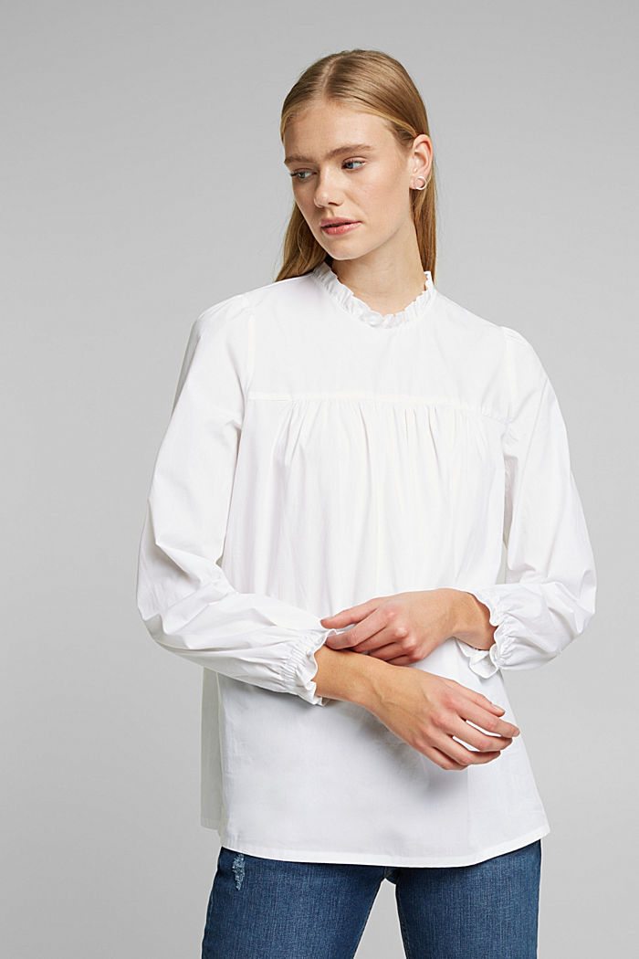 Cotton: blouse with frills, WHITE, detail image number 0