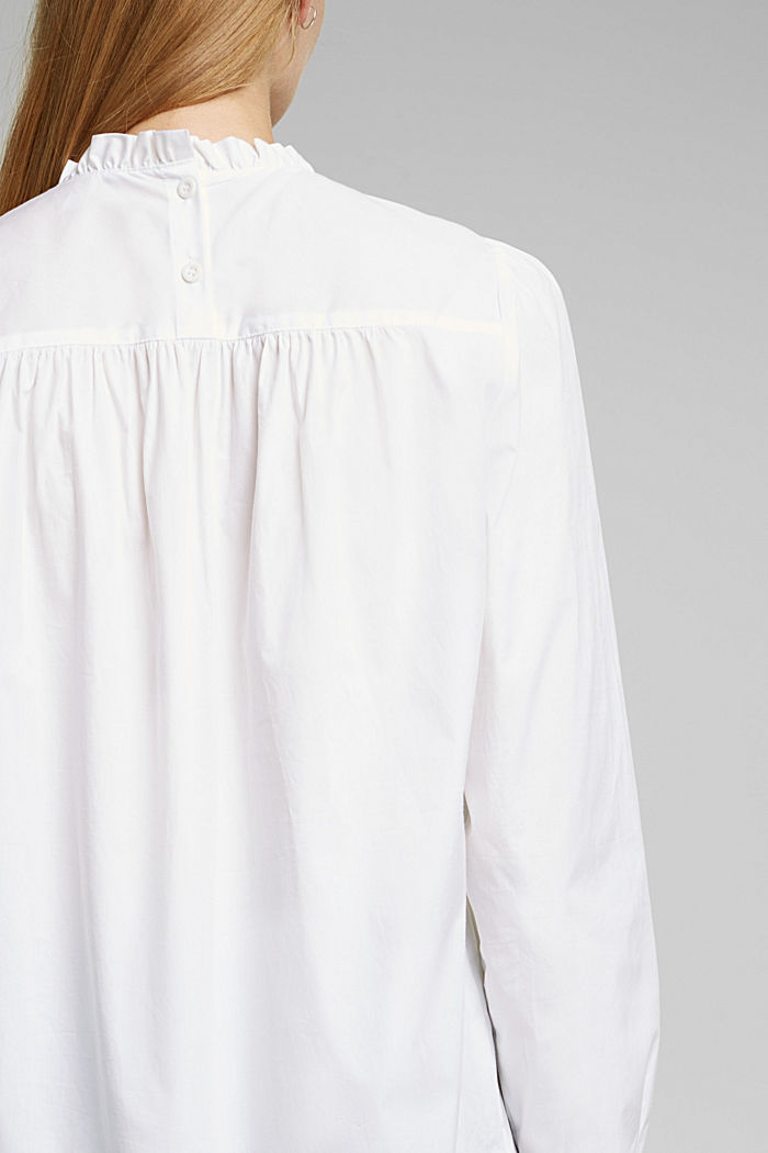 Cotton: blouse with frills, WHITE, detail image number 2
