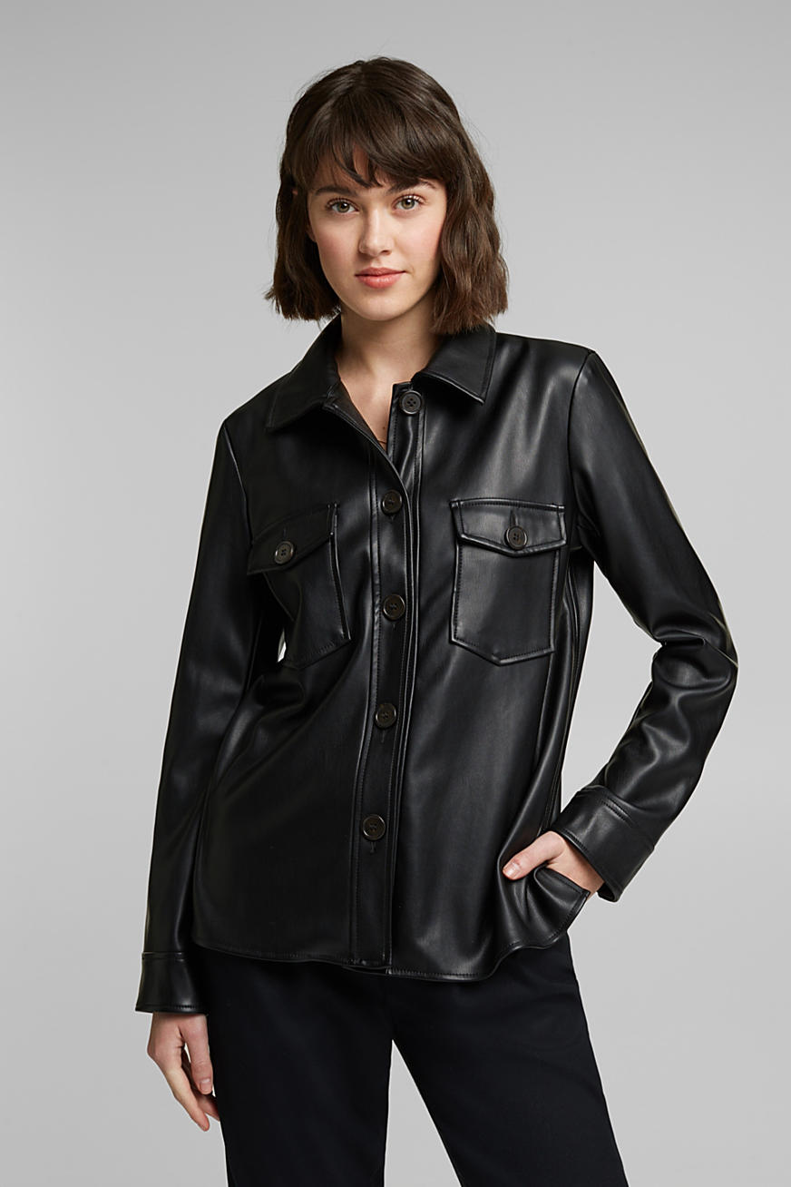 Faux leather overshirt