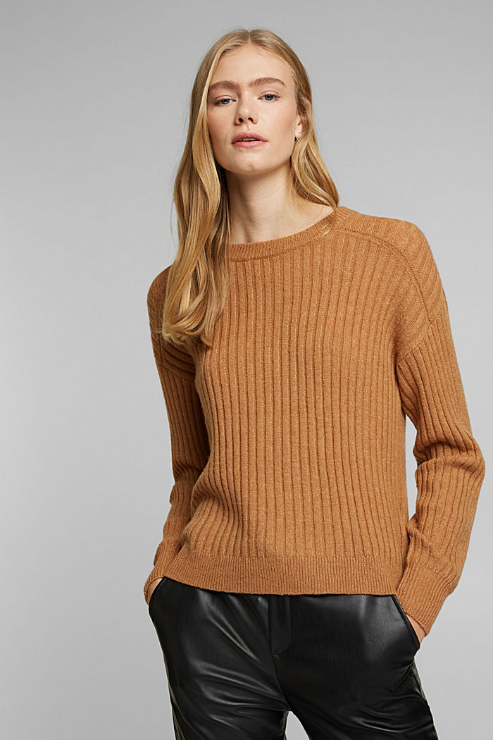 Wool blend: rib knit jumper, CARAMEL, detail image number 0