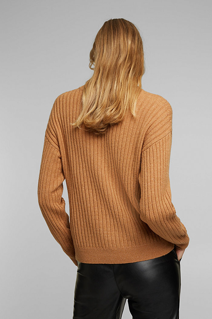 Wool blend: rib knit jumper, CARAMEL, detail image number 3