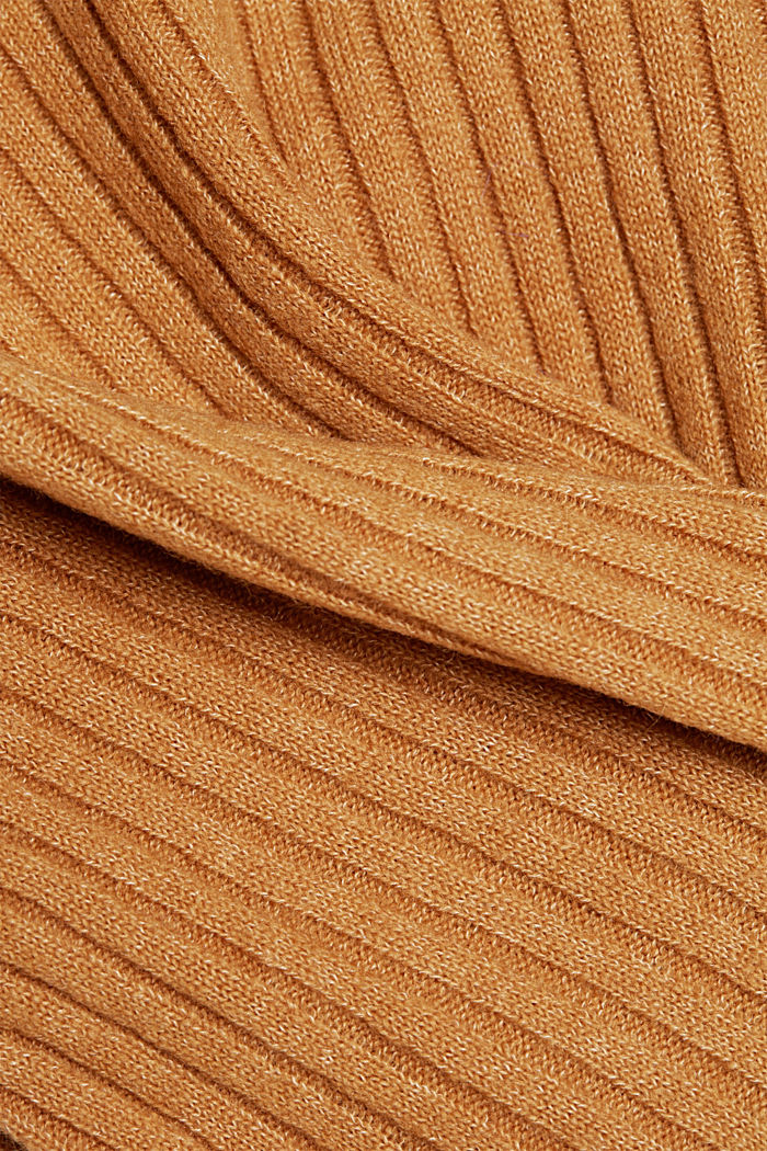 Wool blend: rib knit jumper, CARAMEL, detail image number 4