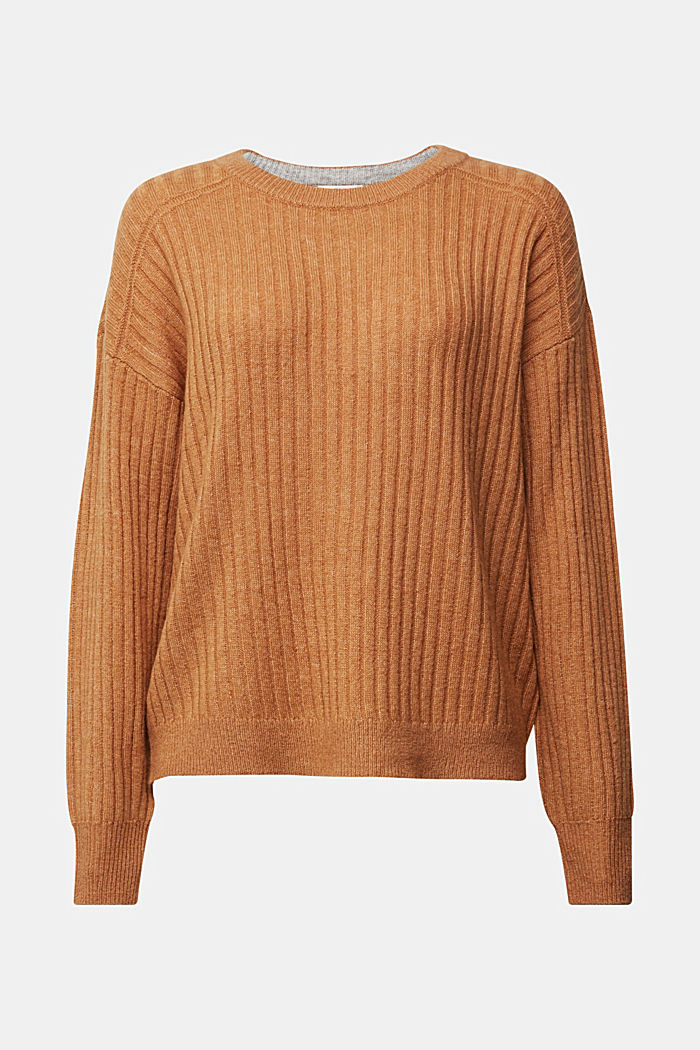 Wool blend: rib knit jumper, CARAMEL, detail image number 5