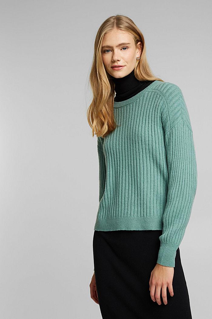 Wool blend: rib knit jumper, DUSTY GREEN, detail image number 0