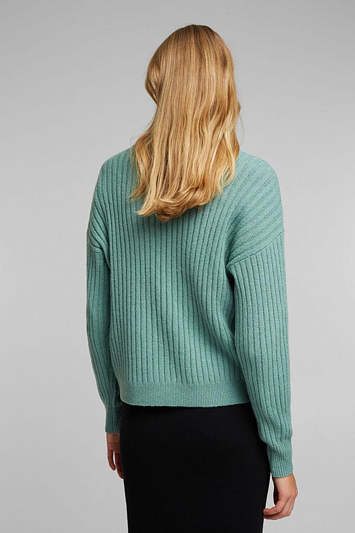 Wool blend: rib knit jumper, DUSTY GREEN, detail image number 3