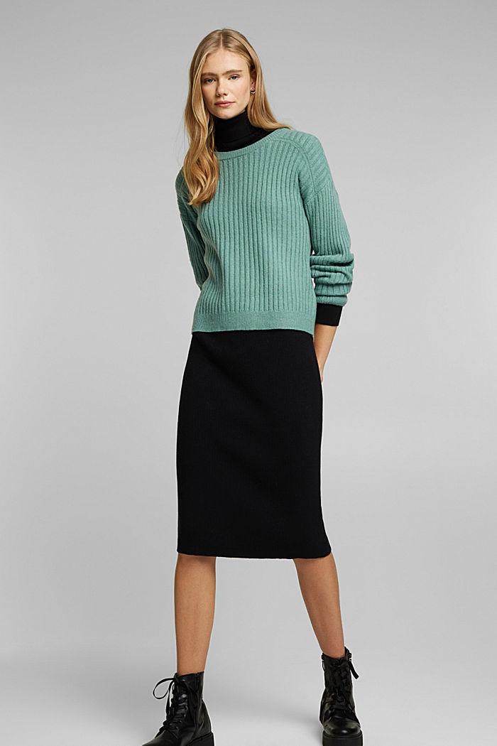 Wool blend: rib knit jumper, DUSTY GREEN, detail image number 1