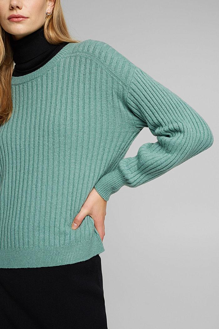 Wool blend: rib knit jumper, DUSTY GREEN, detail image number 2