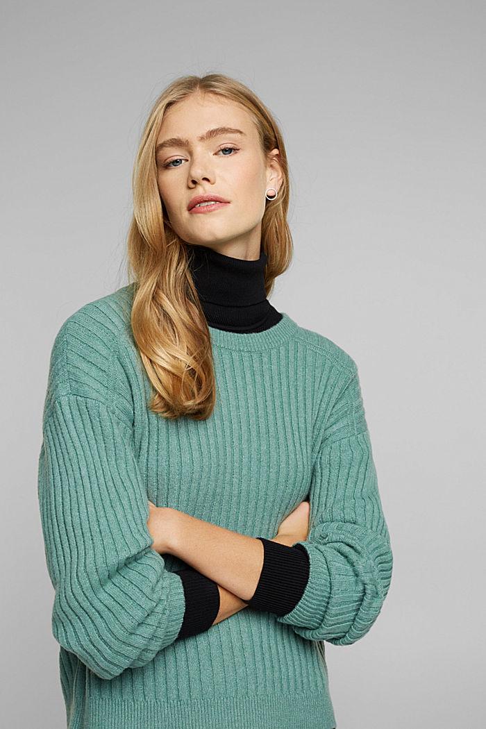 Wool blend: rib knit jumper, DUSTY GREEN, detail image number 5