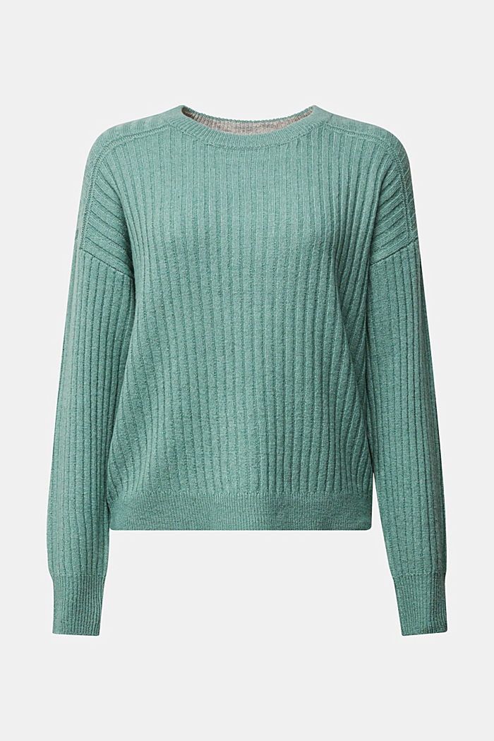 Wool blend: rib knit jumper, DUSTY GREEN, detail image number 6
