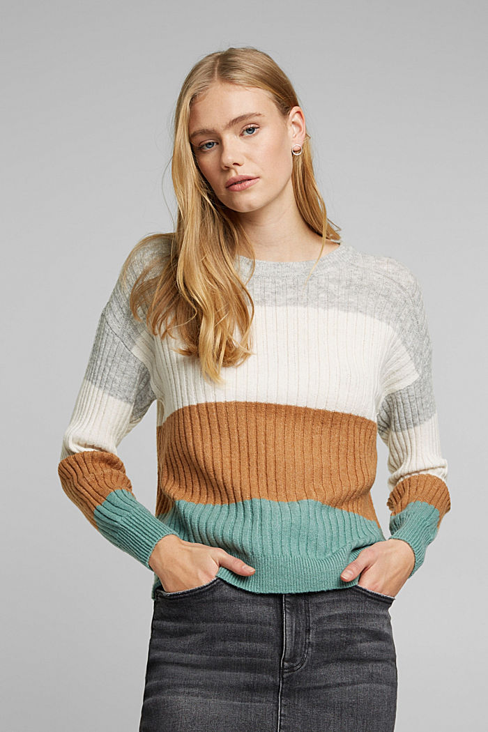 Wool blend: rib knit jumper, GREY COLORWAY, overview