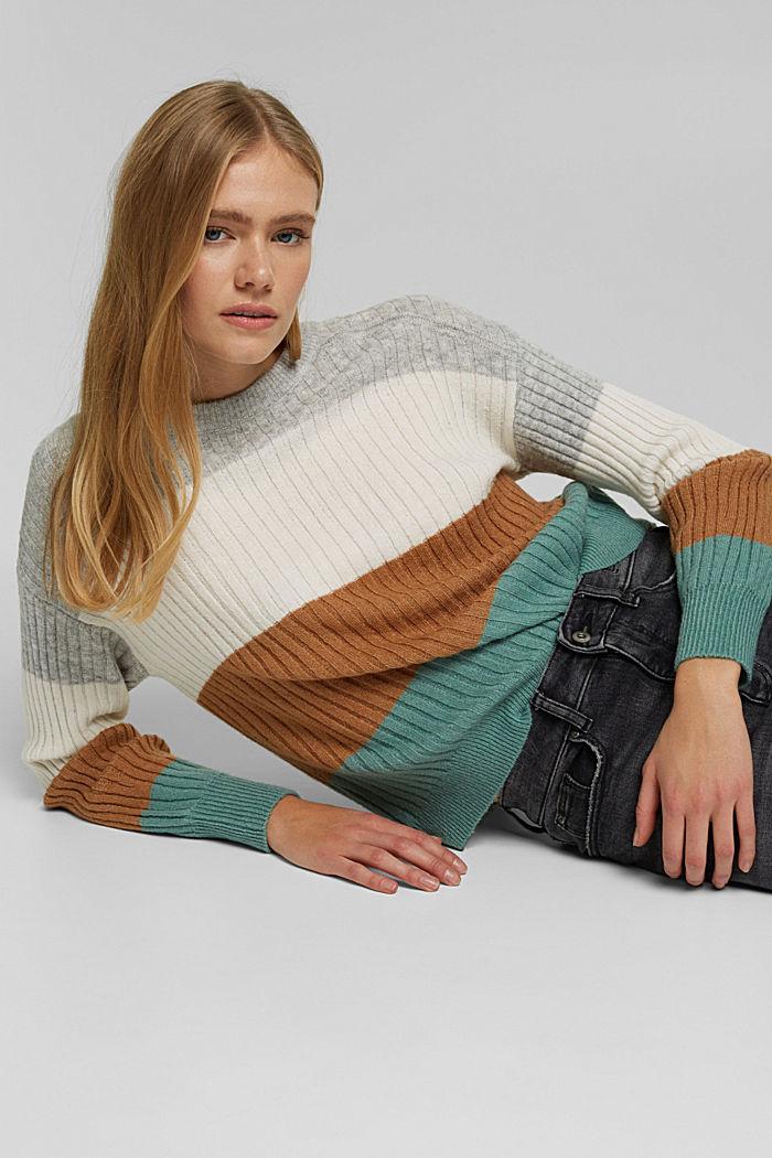 Svlnou: pulovr z žebrové pleteniny, GREY COLORWAY, detail image number 5