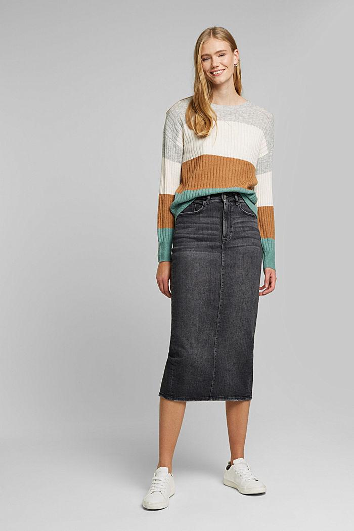 Svlnou: pulovr z žebrové pleteniny, GREY COLORWAY, detail image number 1