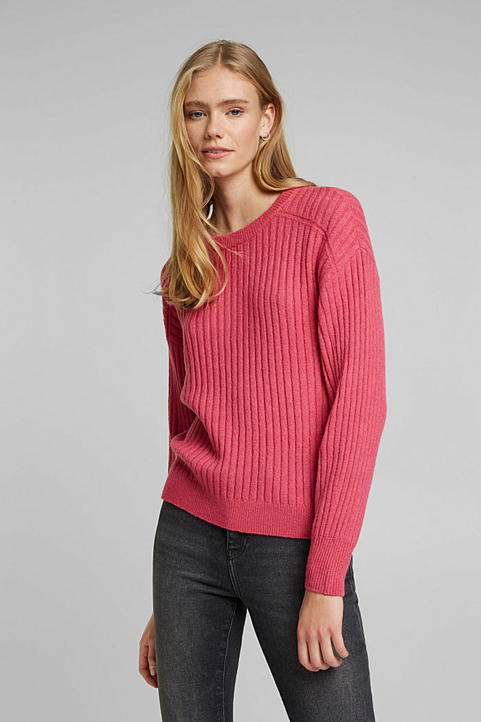 Mit Wolle: Pullover aus Ripp-Strick, BLUSH, overview