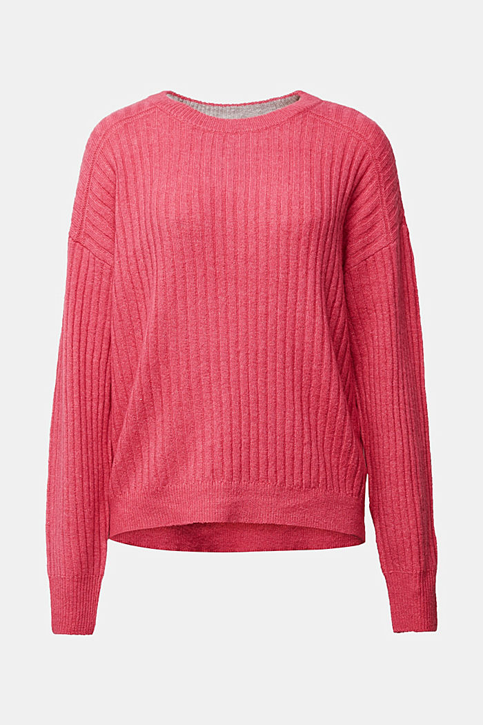 Wool blend: rib knit jumper, BLUSH, detail image number 5