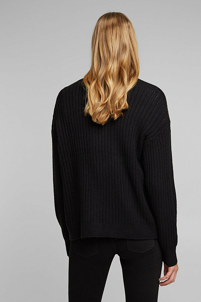 Wool blend: rib knit cardigan, BLACK, detail image number 3