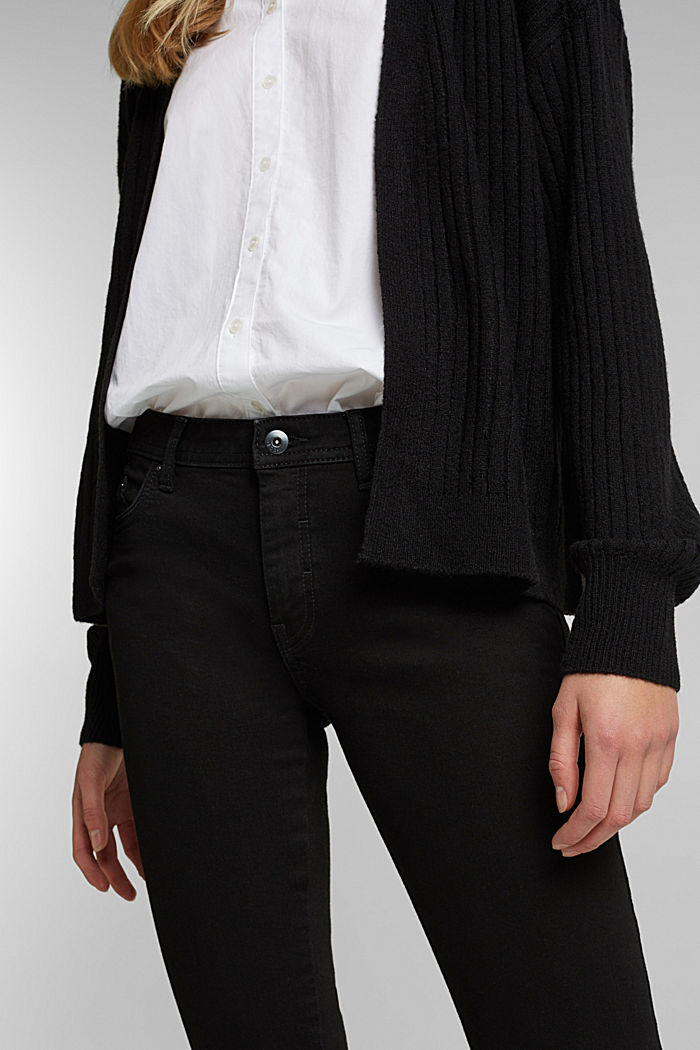 Wool blend: rib knit cardigan, BLACK, detail image number 2