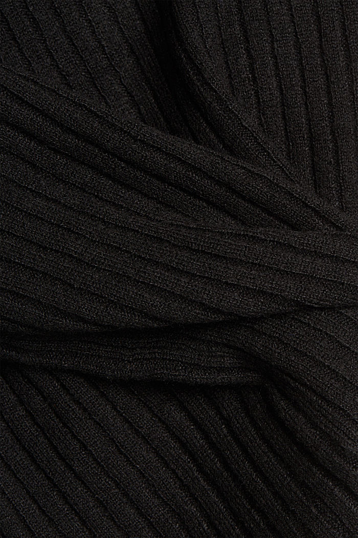 Wool blend: rib knit cardigan, BLACK, detail image number 4