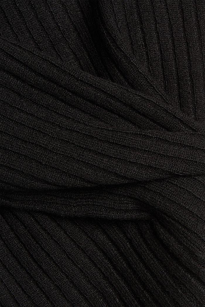 Met wol: vest van ribbreisel, BLACK, detail image number 4