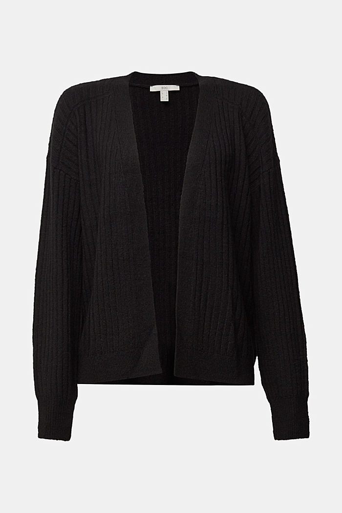 Wool blend: rib knit cardigan, BLACK, overview