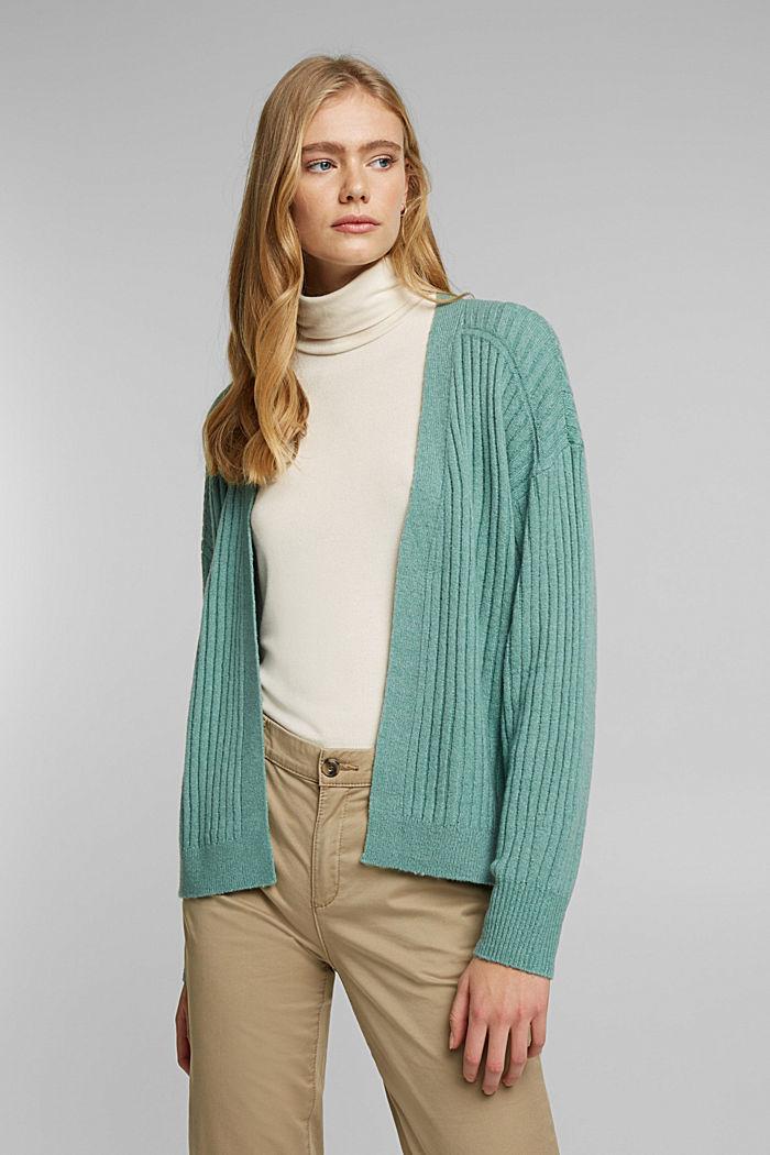 Wool blend: rib knit cardigan, DUSTY GREEN, detail image number 0