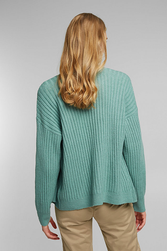 Wool blend: rib knit cardigan, DUSTY GREEN, detail image number 3