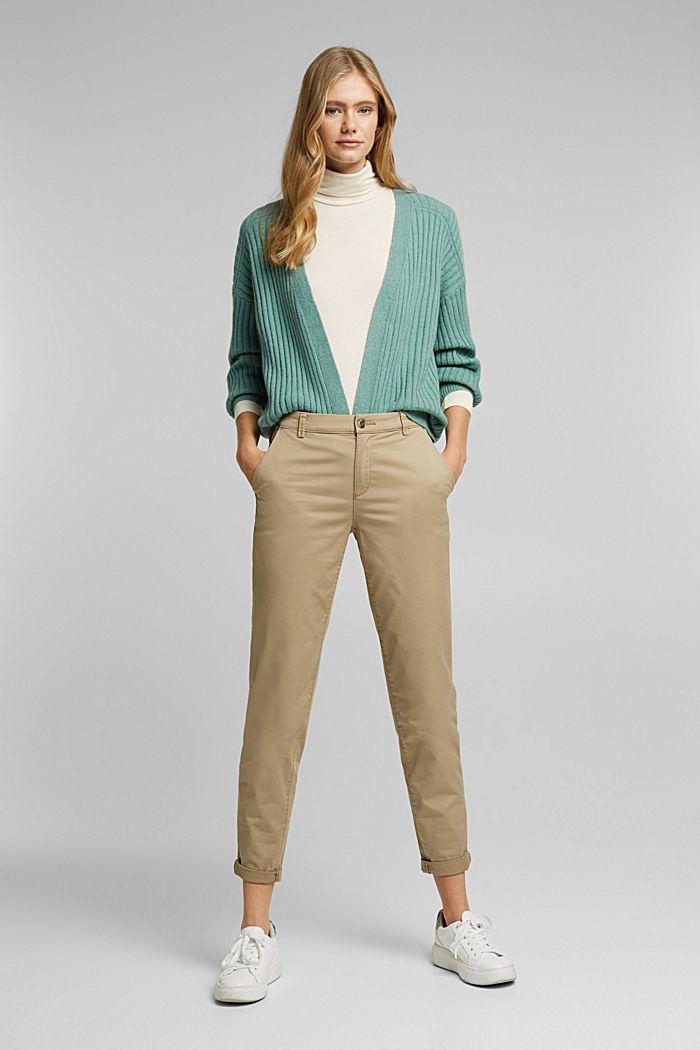 Wool blend: rib knit cardigan, DUSTY GREEN, detail image number 1